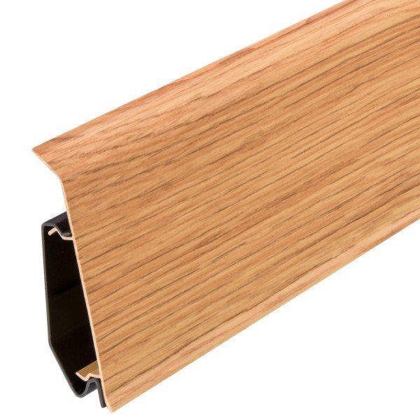 2m Sockelleisten Fussbodenleiste Kunststoff PVC 70mm x 21mm VEO - Eiche Rustikal