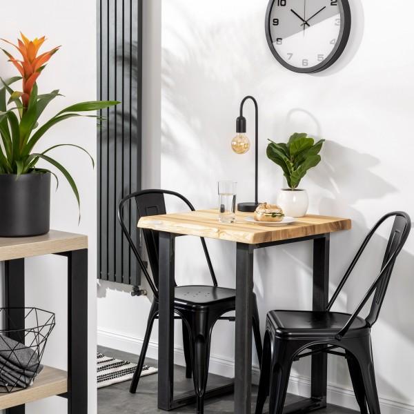 Tischplatte aus Massivholz mit Baumkante für einen Couchtisch 60x60 cm