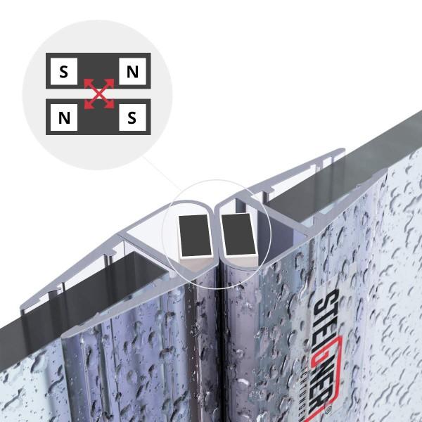 Duschdichtung Magnet Magnetduschdichtung SET 201cm UKM04 180° Grad Dichtung Fünfeck Dusche