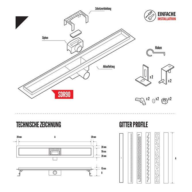 montageanleitung für die Duschrinne SDR90