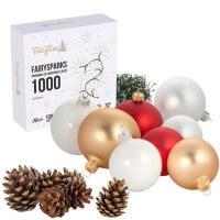 Vorschau: Ø 8 cm Weihnachtskugeln für Weihnachtsbaum ROT - 6er-Pack