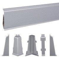Vorschau: 2m Sockelleisten Fussbodenleiste Kunststoff PVC 70mm x 21mm VEO - Aluminium