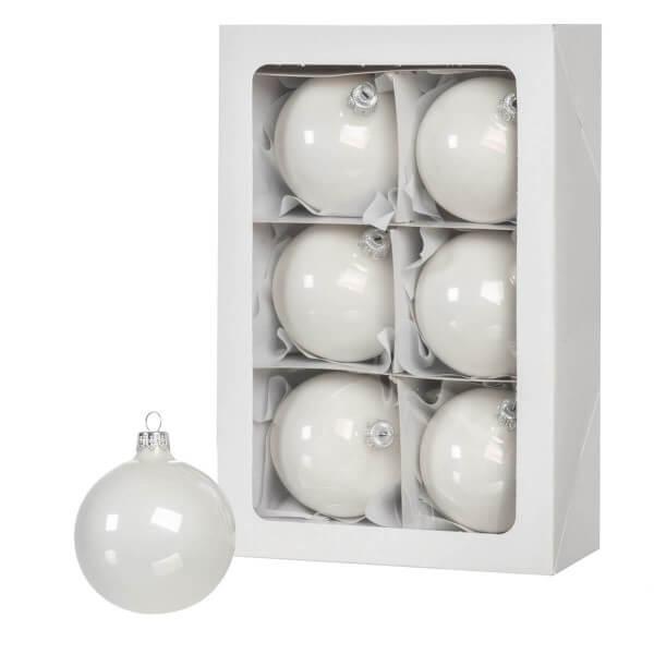 Ø 8 cm Weihnachtskugeln für Weihnachtsbaum WEISS - 6er-Pack