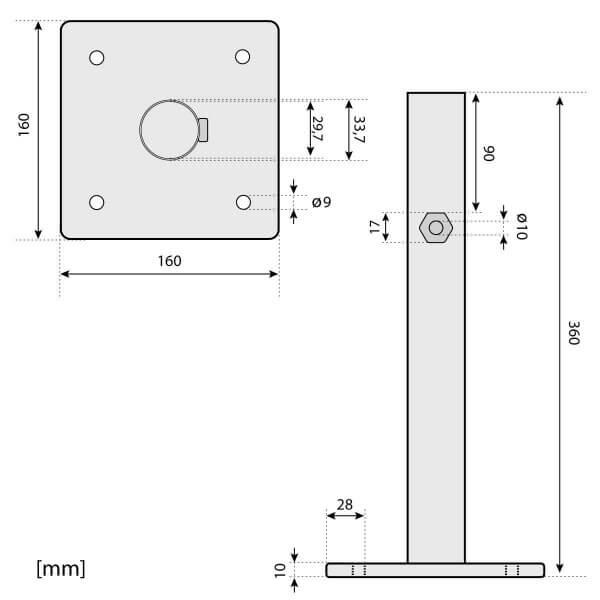 Sonnenschirmständer für Bodenhülse Innendurchmesser 29 mm Tiefschwarz