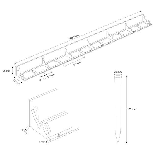 1m Rasenkante PVC Leiste mit Ankern HRK01B-78
