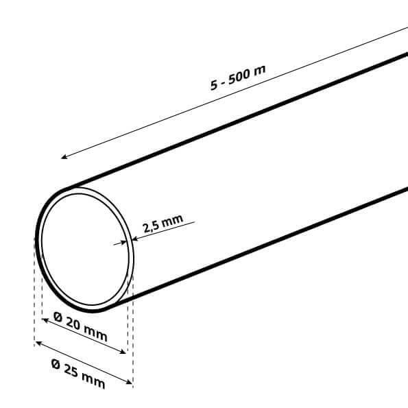 LDPE Brauchwasserleitung Verlegerohr für Sprenklersysteme aus Kunststoff 1 zoll 25 mm HWS01-25