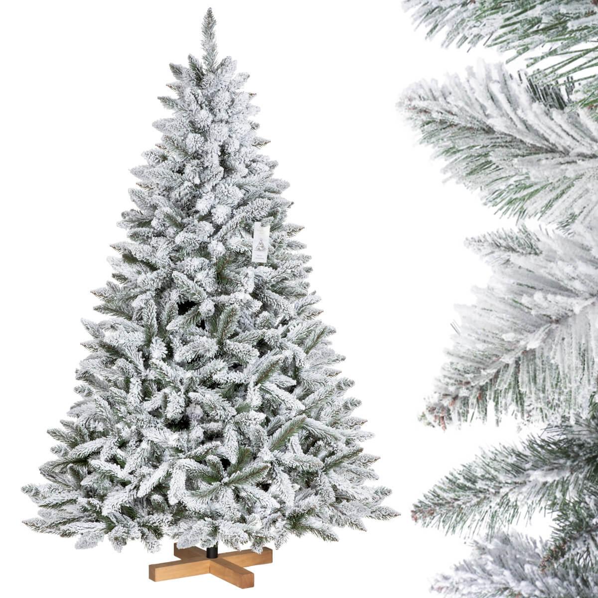 k nstlicher weihnachtsbaum fichte natur weiss mit schneeflocken jumbo shop. Black Bedroom Furniture Sets. Home Design Ideas