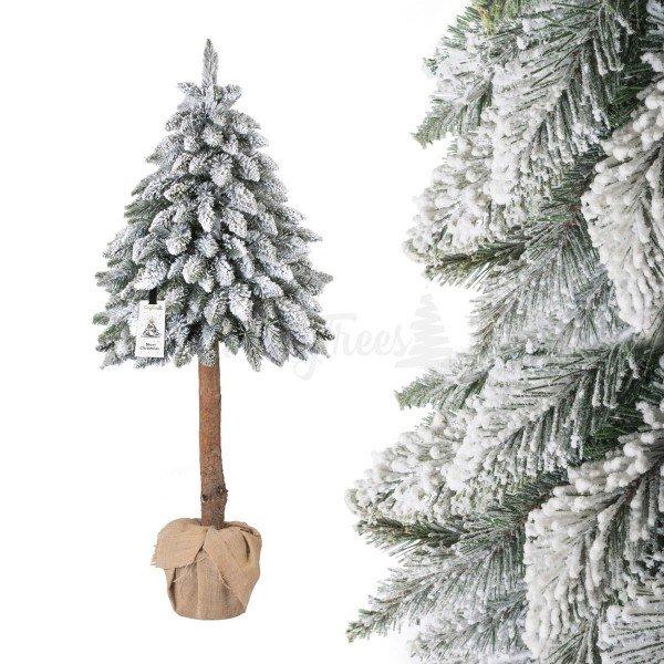 Künstlicher Weihnachtsbaum im Topf FICHTE NATURSTAMM mit Schneeflocken