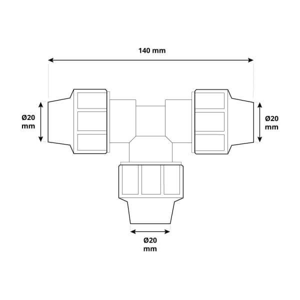 T-Stück 3/4 x 3/4 x 3/4 Zoll 20x20x20 mm Rohrverbinder für Rohrabzweigung des Verlegerohrs