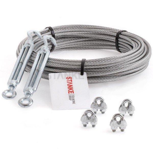 Rankhilfe Seilsystem SET 4: Edelstahlseil +  2x Spannschloss H+Ö + 4x Seilklemmen