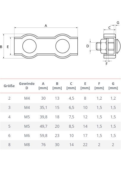 Duplexklemme 2 – 8 mm Drahtseilklemme Edelstahl Seilklemme