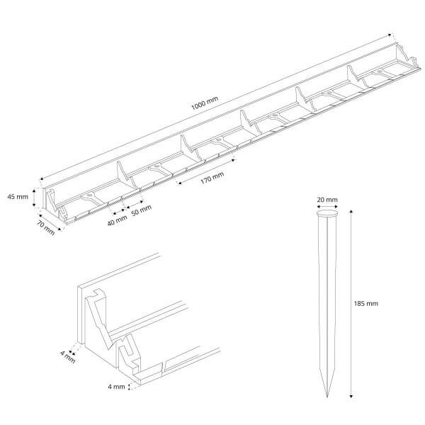 1m Rasenkante PVC Leiste mit Ankern HRK01B-45