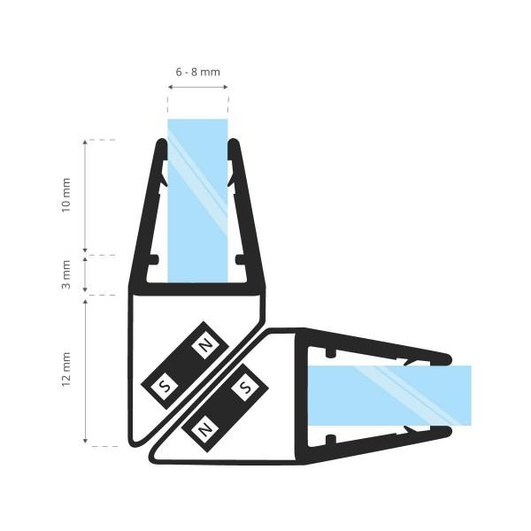 Duschdichtung Magnet Magnetduschdichtung SET 201cm UKM04 90° Grad Dichtprofil Eckduschen Eckeinstieg