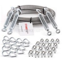 Vorschau: Rankhilfe Seilsystem SET 6: Stahlseil verzinkt + 4x Spannschloss H-O + 16x Kausche + 16x Seilklemme