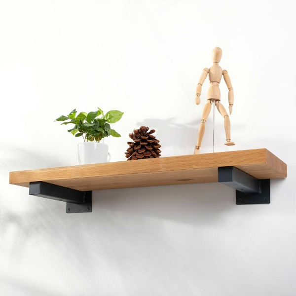 Wandregal aus Holz mit gerader Kante inkl. Wandhalterung HLT-14