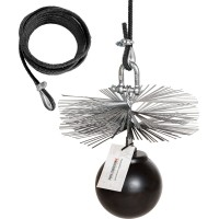 Profi-Set: 8m Seil + Kaminbesen + Zuggewicht + Montagezubehör 130mm