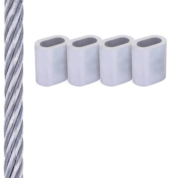SET mit verzinktem Drahtseil inkl. Pressklemmen und Kauschen