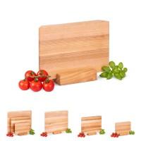 Vorschau: Stilvolles Schneidebrett aus Holz inkl. Ständer ideal als Käsebrett oder Sushi Servierbrett
