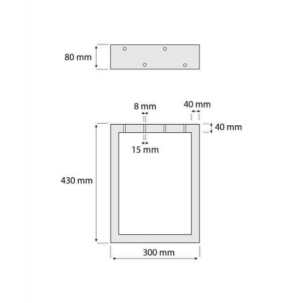 Design Tischkufen aus Vierkantprofilen 80x40 mm, Tischgestell, Tischbeine, 1 Stück, HLT-01-B