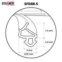 Vorschau: 1m Fensterdichtung schwarz SFD08-S Gummidichtung TPE Dichtung Fenster Tür