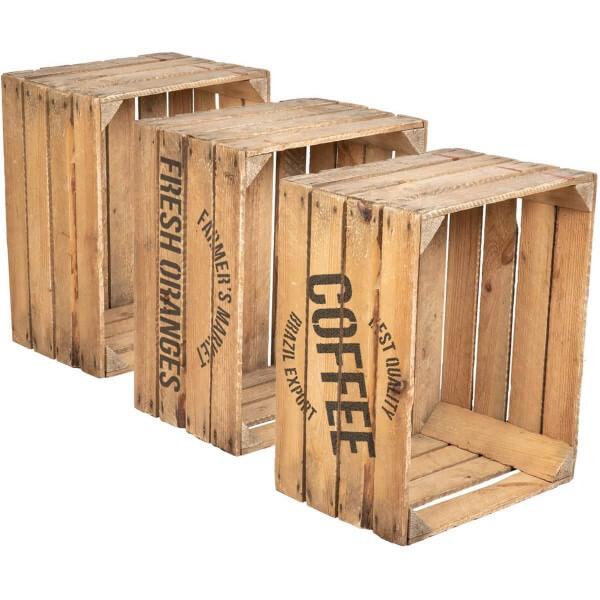 3er Set Holzkiste Apfelkiste Weinkiste aus Kiefernholz Geschliffen 40x50x30 cm HOK-01