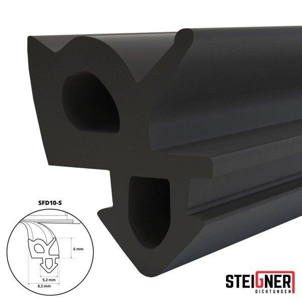 1m Fensterdichtung schwarz SFD10-S Gummidichtung TPE Dichtung Fenster Tür