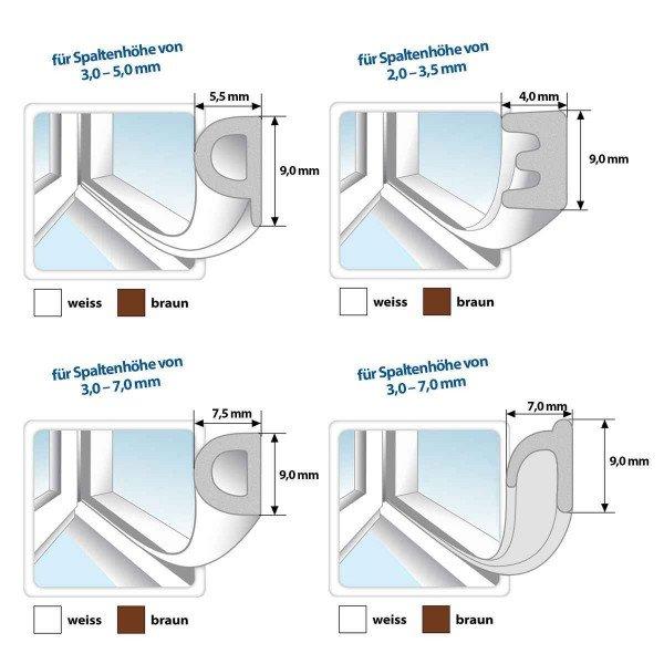 Fensterdichtung Gummidichtung selbstklebend braun V-Profil