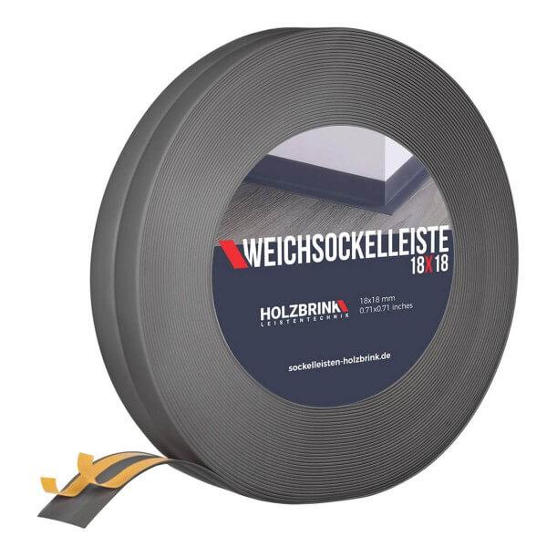 Weichsockelleiste selbstklebend DUNKELGRAU Knickleiste Profil 18x18mm