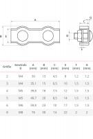 Vorschau: Duplexklemme 2 – 8 mm Drahtseilklemme Edelstahl Seilklemme