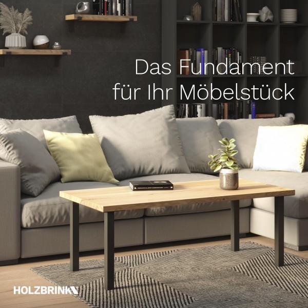 Tischbein Eckig, Möbelfuß aus Stahl, Quadratrohr 40x40 mm, Industriedesign, HLT-14A-F