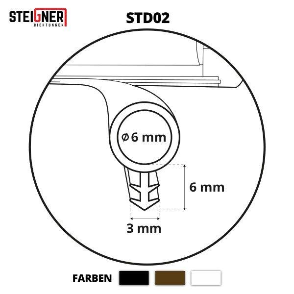 Türdichtung SCHLAUCHDICHTUNG Türgummi 6mm STD02 SCHWARZ Universal Dichtband Zimmertürdichtung