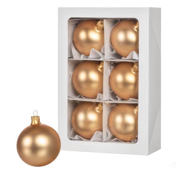 Ø 8 cm Weihnachtskugeln für Weihnachtsbaum GOLD - 6er-Pack