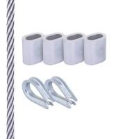 Vorschau: SET mit verzinktem Drahtseil inkl. Pressklemmen und Kauschen