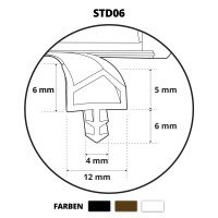 Vorschau: Türdichtung ZIMMERTÜRDICHTUNG Türgummi 12mm STD06 WEISS Gummidichtung Profildichtung