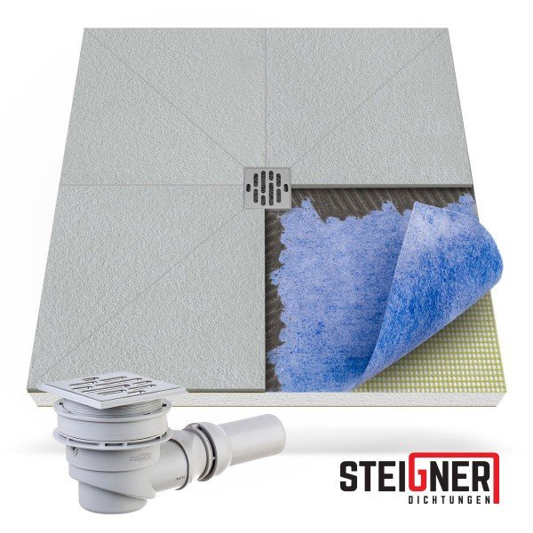befliesbares Duschelement Duschboard bodeneben Punktablauf WAAGERECHT mit Dichtfolie