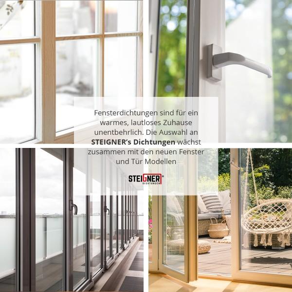 STEIGNER Gummidichtung P-Profil L/änge: 70 m Farbe: Wei/ß selbstklebende Fensterdichtung T/ürdichtung Gummi Profil