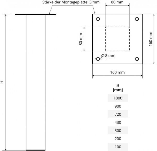 Tischbein Eckig, Möbelfuß aus Stahl, Quadratrohr 80x80 mm, Industriedesign, HLT-14A-J