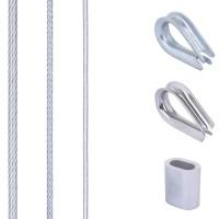 Vorschau: SET mit verzinktem Drahtseil mit PVC-Mantel inkl. Pressklemmen und Kauschen aus Edelstahl