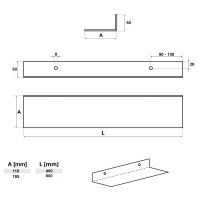 Vorschau: Metall Wandregal Hängeregal L-Form HLMW-02