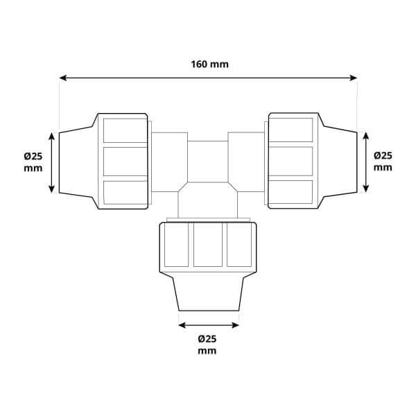 T-Stück 1 x 1 x 1 Zoll 25x25x25 mm Rohrverbinder für Rohrabzweigung des Verlegerohrs