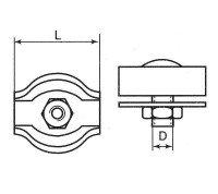 Vorschau: Simplexklemme 2mm Drahtseilklemme Simplex Klemme verzinkt