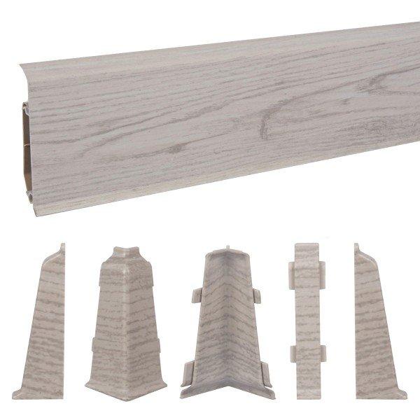 2m Sockelleisten Fussbodenleiste Kunststoff PVC 70mm x 21mm VEO - Eiche Chillout
