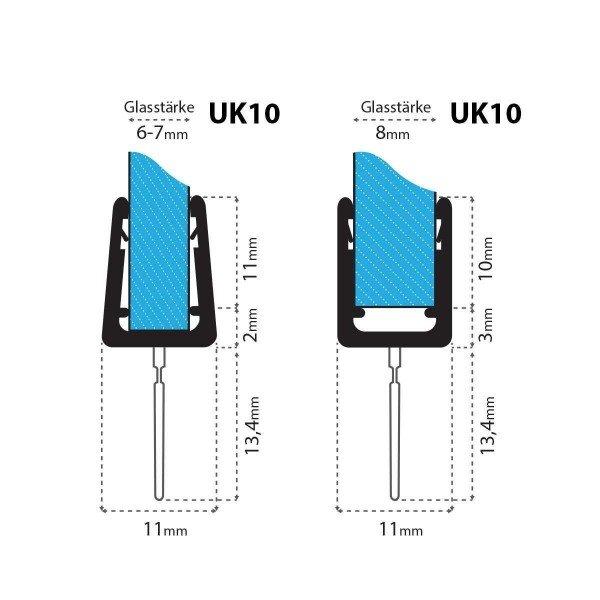 Duschdichtung UK10 Duschtürdichtung Duschkabinendichtung