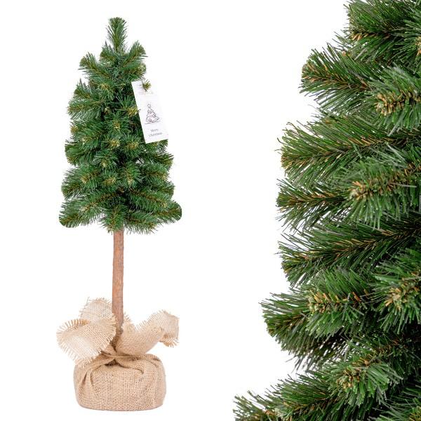 Künstlicher Weihnachtsbaum Premium, Mini Weihnachtsbaum Fichte mit Stamm Naturstamm