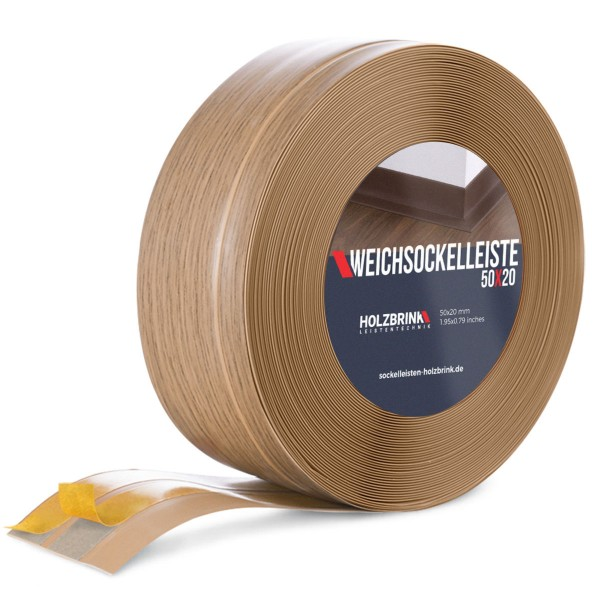 Weichsockelleiste selbstklebend EICHE HELL Knickleiste Profil 50x20 mm
