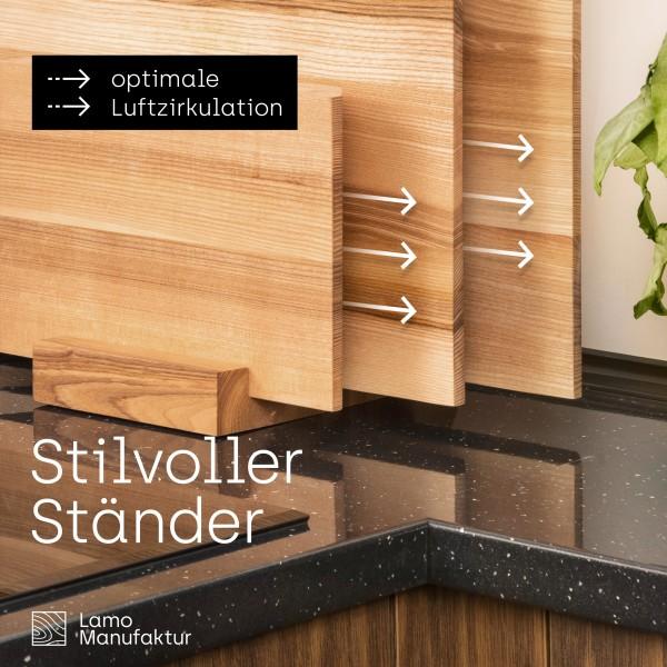 Stilvolles Schneidebrett aus Holz inkl. Ständer ideal als Käsebrett oder Sushi Servierbrett