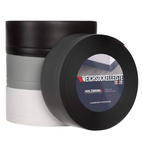 Weichsockelleiste WEISS Knickleiste Profil 70x20mm