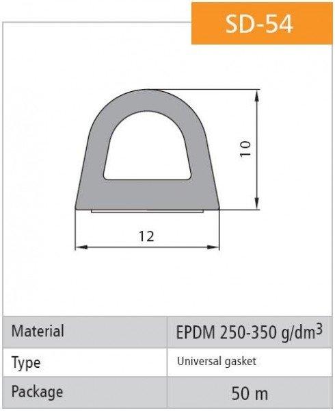1m Gummidichtung selbstklebend Hohlkammerprofil SD-54 WEISS Hohlkammerdichtung