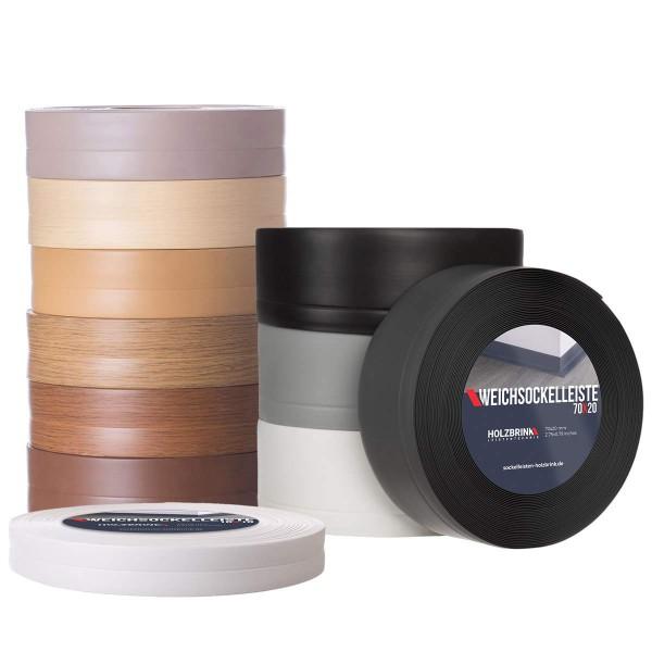 Weichsockelleiste selbstklebend ASCHGRAU Knickleiste Profil 50x20mm