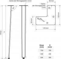 Vorschau: Haarnadel Tischbeine, 2-Stangen Bein, Tischkufen Tischfüße Hairpin Legs DIY, HLT-12A